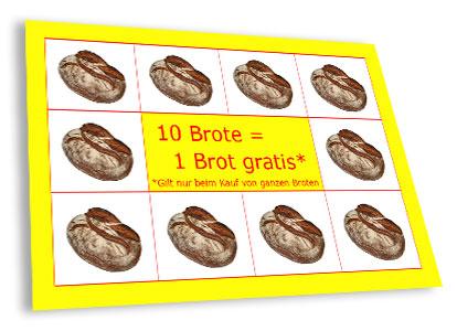 Brotsammelkarte der Bäckerei und Konditorei Bernd Lehmann